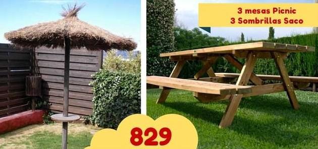 oferta-campings-3-mesas-picnic-y-3-sombrillas-de-brezo